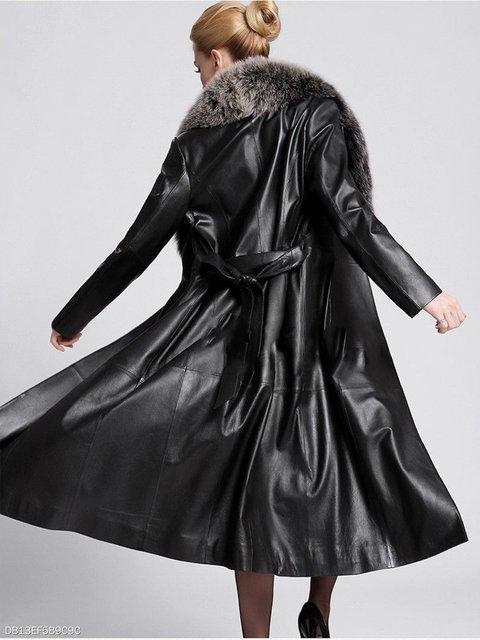 Longline PU Faux Coat Belt Collar Fur Leather nTIzAt
