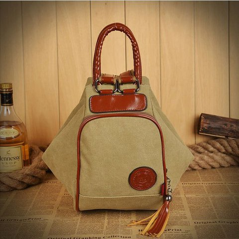Women Canvas High Capacity Tassel Diagonal Multi Functional Backpack