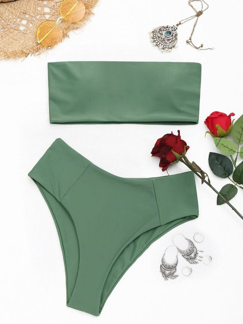 Bandeau Padded High CutWireless Solid Bikini