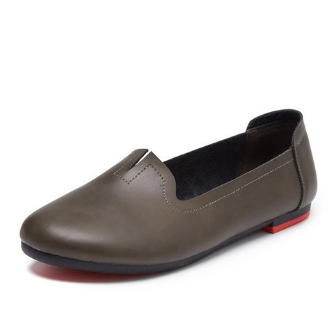 Big Size Leather Pure Color Soft Flat Casual Loafers