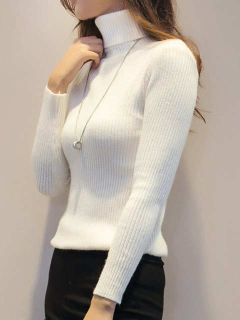 Womens Plain Sweaters Long Turtleneck Sleeve BBq1rn60