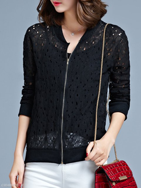 Out Hollow Collarless Sleeve Jackets Long Zips 5q66E