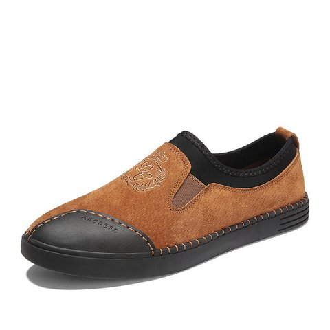 Men Hand Stitching Stylish Leather Splicing Slip On Leather Shoes
