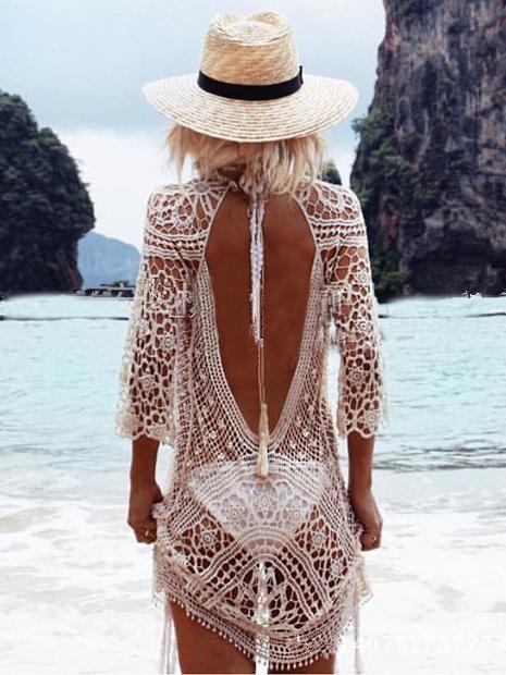 Hollow Lace Backless Crochetgo Mini Cover-ups