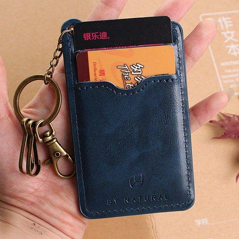 Women Men Casual PU Leather Vintage Card Holder Key Bag