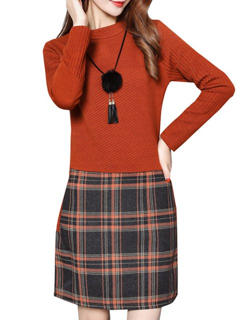 Caramel A-line Women Daily Casual Long Sleeve Paneled Checkered/Plaid Casual Dress