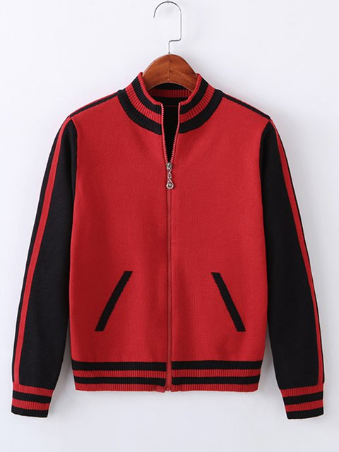 Coat Zipper Pockets Stand block Shift Collar Color xSq17UAw