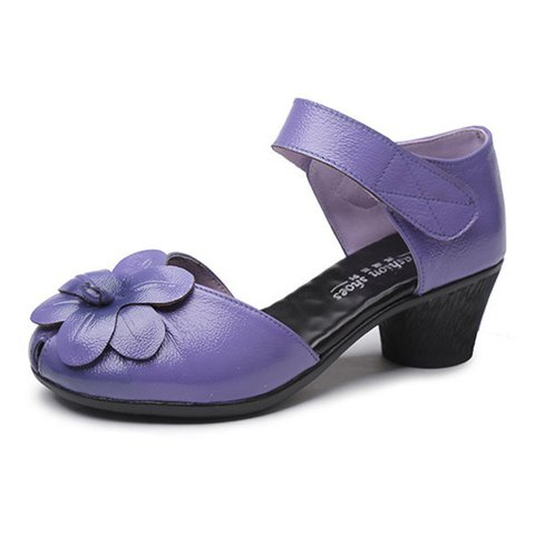 Flower Magic Tape Soft Genuine Leather Sandals