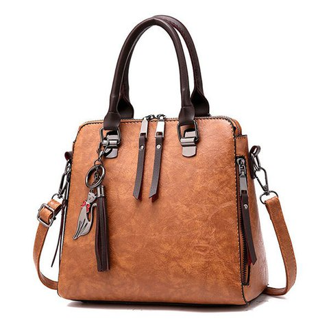 Women Vintage Oil Leather Tassel Handbag Crossbody Shoulder Bag