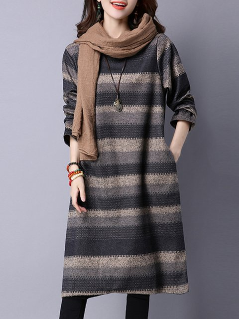 Shift Women Going out Casual Cotton Pockets Casual Dress