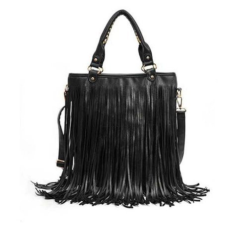 Women Elegant Classic Tassel PU Leather Stylish Shoulder Bag Handbag
