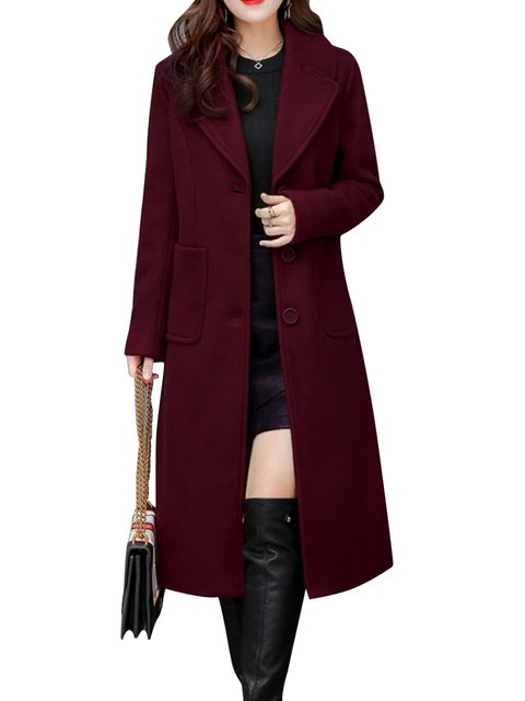Solid Casual Wool blend Winter Long Sleeve Coat