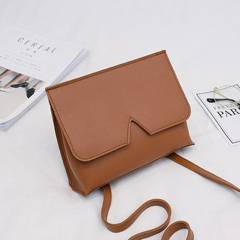 Women Candy Color PU Leather Irregular Design Phone Bag Crossbody Purse