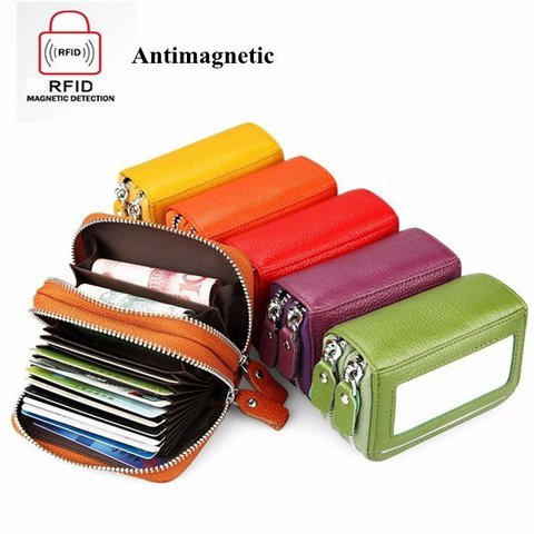 Genuine Leather RFID Antimagnetic 11 Colors 11 Card Slots Card Holder Purse