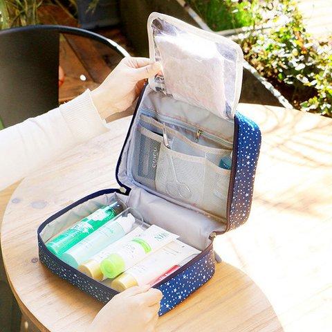 Women Waterproof Nylon Floral Toiletry Bag Travel Must-have Storage Bag