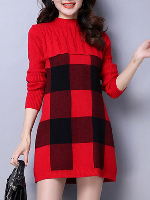 Checkered/Plaid Long Sleeve Casual Sweater