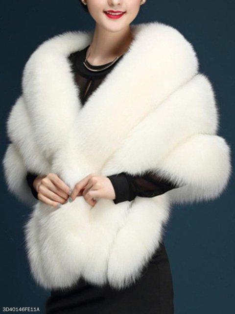 Confortable Solid Faux Fur Cape