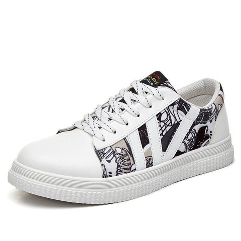 Men Printed Flat Lace Up Trainers Casual Sneakers