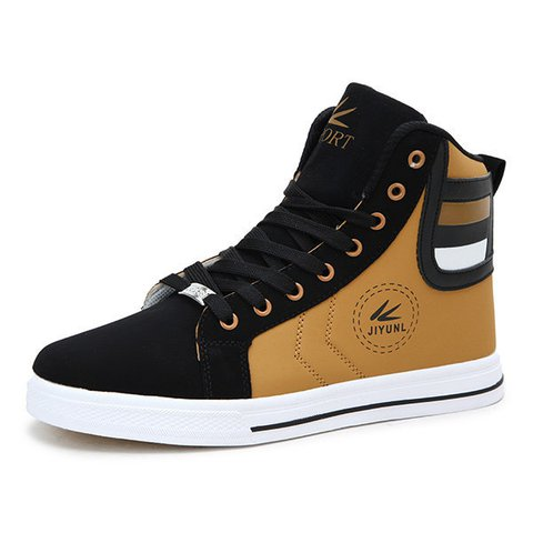Men Color Match Stripe Korean Style Lace Up High Top Casual Shoes