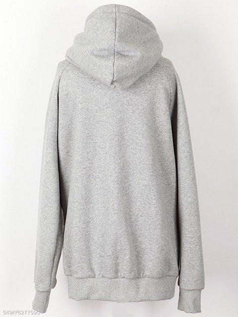 Sweatshirts Long Hoody Casual amp; Sleeve Solid Cotton blend 1FxFPzqX