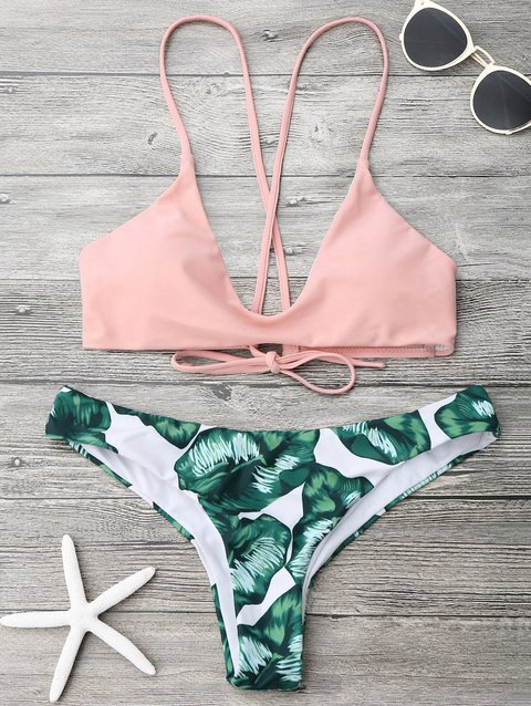 Palm Leaf Printed Bralette Bikini