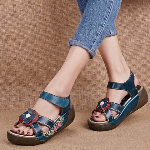 52a0fd73c11 Candy Color Hook Loop Leather Retro Platform Sandals ...