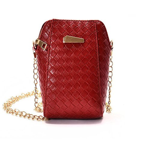 Women Plaited Pattern Phone Bag Mini Crossbody  Smartphone Purse