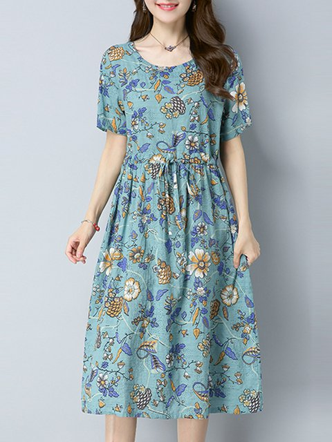 Green A-line Women Daily Linen Short Sleeve Casual Printed Casual Dress