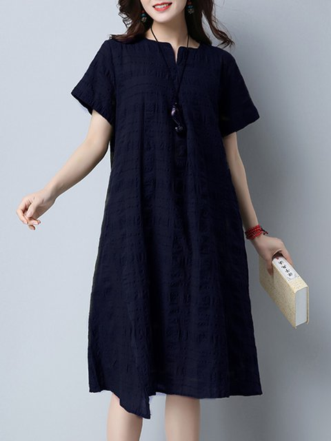 Navy Blue Shift Women Daytime Cotton Casual Slit Plain Casual Dress