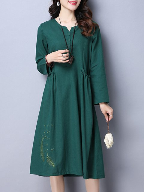 Women Daily Casual Long Sleeve Painted Plain Casual Dress