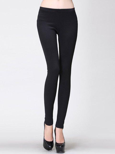 Black Casual Cotton-blend Sheath Leggings