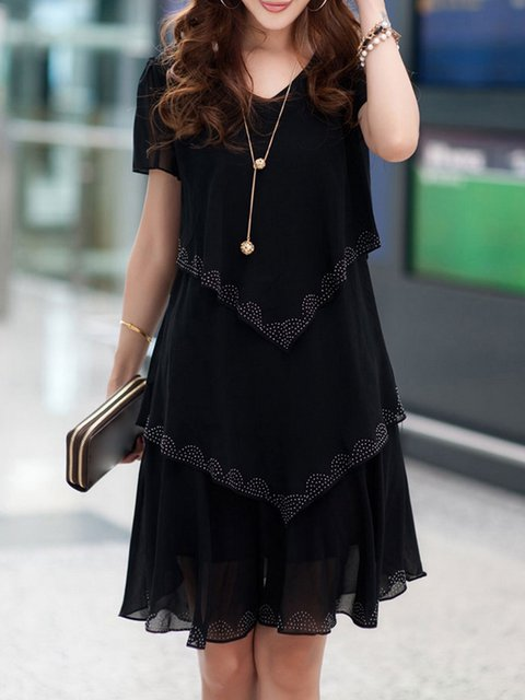 V neck  A-line Women Holiday Chiffon Casual Solid Elegant Dress