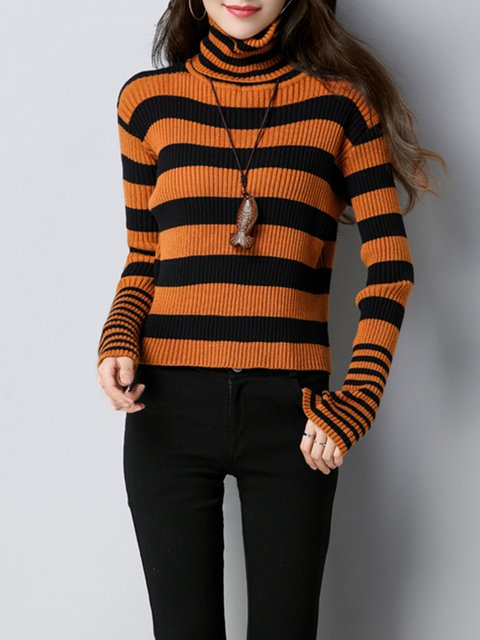 Long Sleeve Stripes Knitted Turtle Neck Casual Sweater