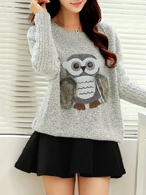 Long Sleeve Owl Patch Cute H-line Sweater