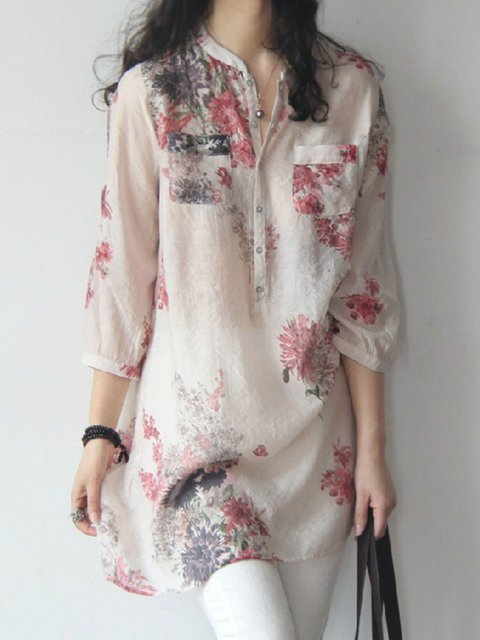 3/4 Sleeve Linen Shift Floral Stand Collar Plus Size Shirt