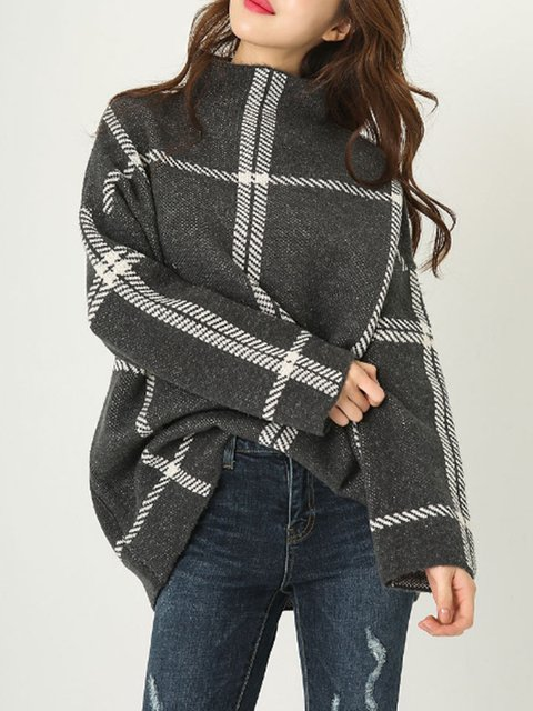df81a22b678 Sweater Checkered Gray Turtleneck Deep Knitted Long Sleeve 1BYBwnqz7 ...
