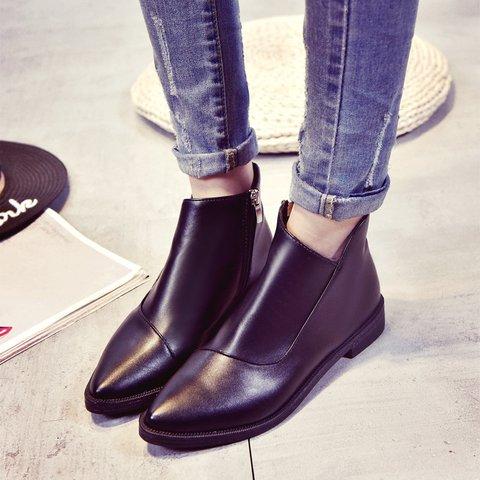 Black Women's Zipper Slip-On Boots