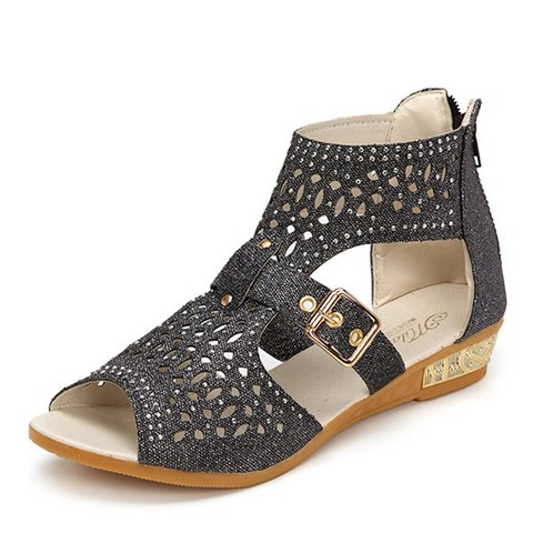 Black Rhinestone Zipper Women's Sandals