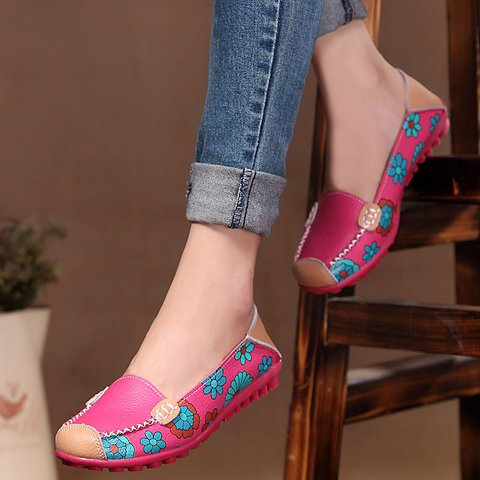 Fuchsia Casual Printed Slip-On Women's Floral Flat Loafers
