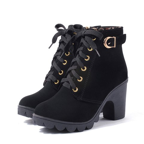 da46e676103 Black Suede Women's Lace-Up Ankle Chunky Heel Boots