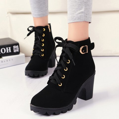 Black Suede Women's Lace-Up Ankle Chunky Heel Boots
