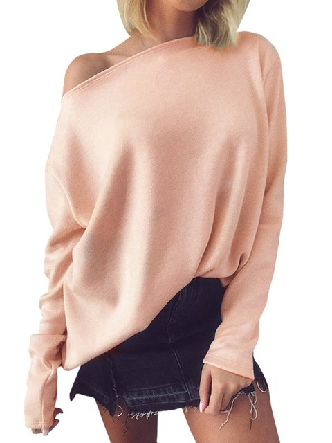 Long Sleeve Cotton Round Neck Solid Sweater