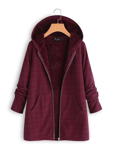Wine Red Hoodie Zipper Solid Casual Coats
