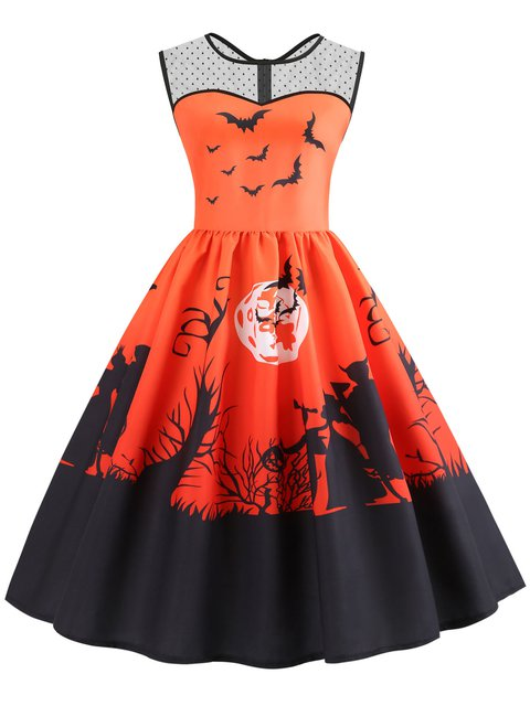 Women Prom Dresses A-Line Halloween Party Paneled Animal Dresses