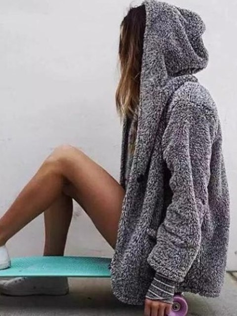 Gray Solid Casual Hoodie Pockets Plus Size Hoody