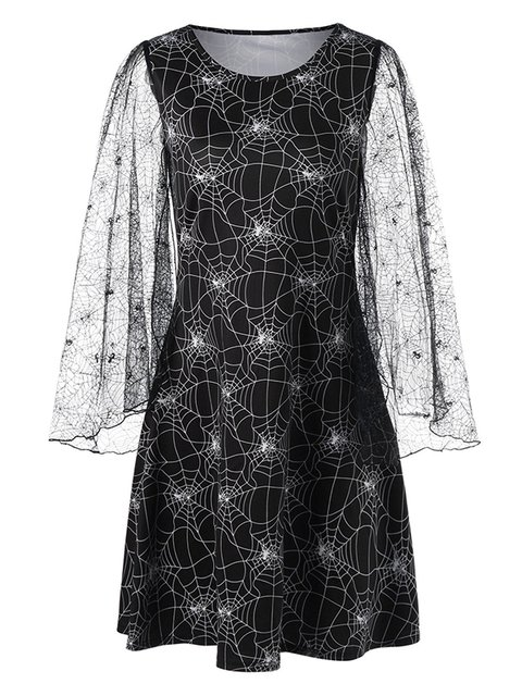 Halloween Lace Sleeve Spider Web Print Dress