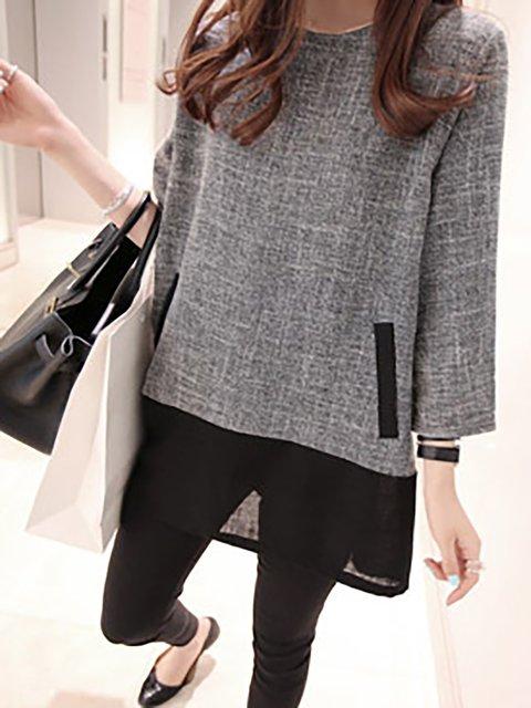 Crew Neck Light Gray Women Casual Dresses A-Line Cotton-Blend Plain Dresses