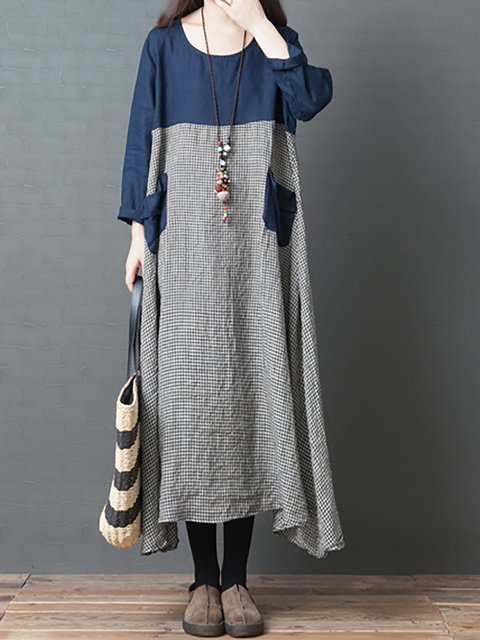 Crew Neck Women Casual Dresses Daily Casual Paneled Dresses