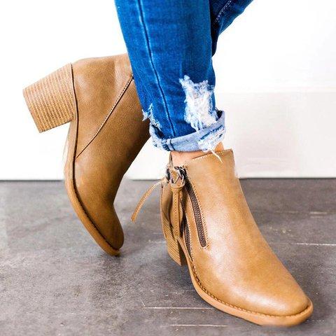 Chunky Heel Zipper Ankle Booties