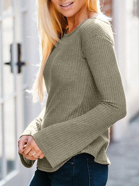 One Shoulder Solid Casual Bell Sleeve Sweaters